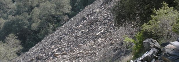 adopted from Wikimedia commons (cropped)   Ferguson Slide on California Highway 140 along the Merced River Photo by Richard E. Ellis http://yosemitephotos.net/